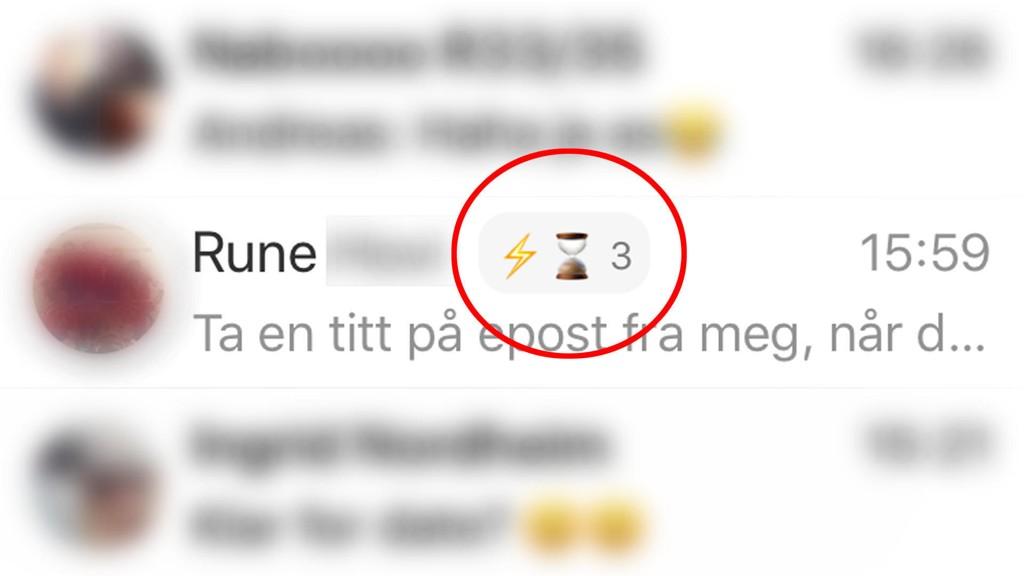 STREAK: Her ser du et eksempel på to venner på Facebook som har chattet med hverandre i tre dager. Lynet illustrerer et streak.