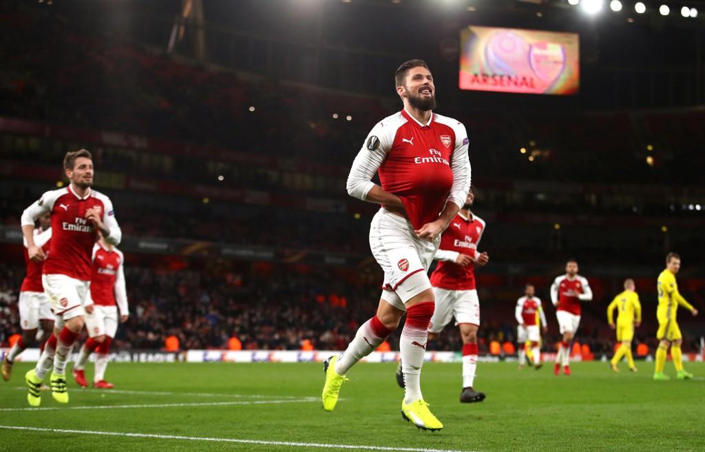 OPTIMISMEN FØDT PÅ NY: Arsenal og Olivier Giroud kunne feire mange mål i overhøvlingen av hviterussiske BATE Borisov i Europa Leagues siste gruppespillrunde torsdag.