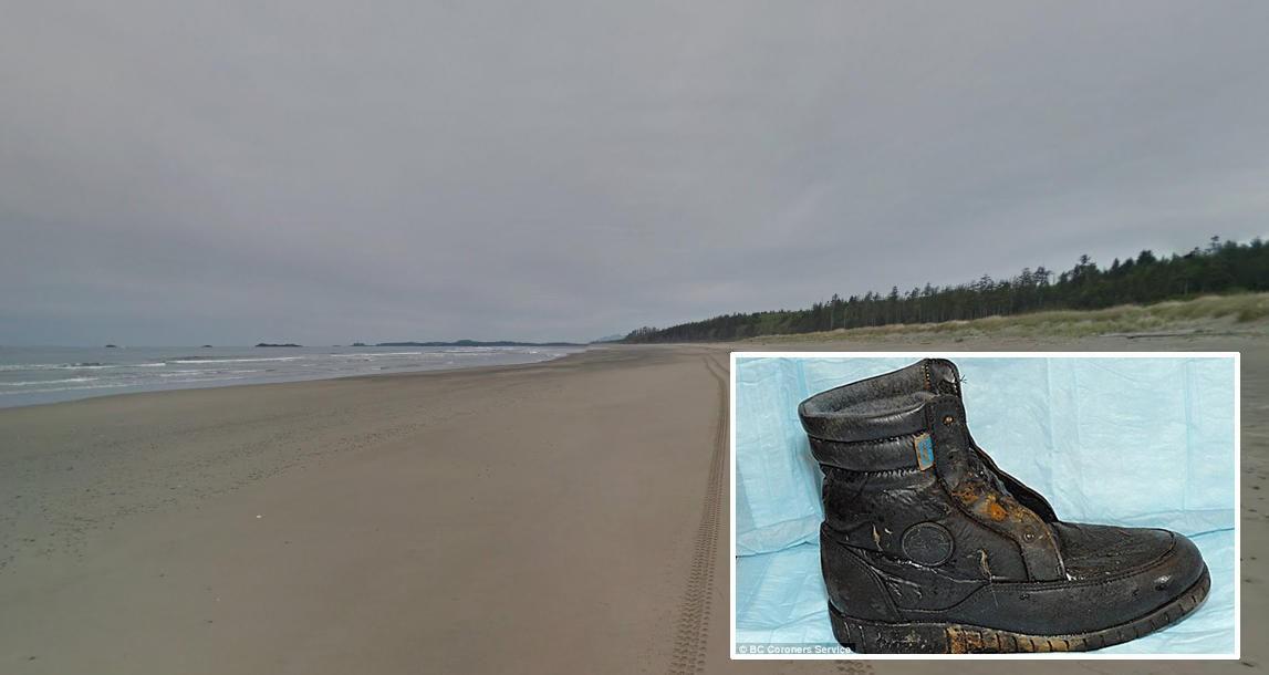 MENNESKEBEIN FLYTER I LAND: Langs denne kyststrekningen har 13 sko med menneskebein skylt iland siden 2007.