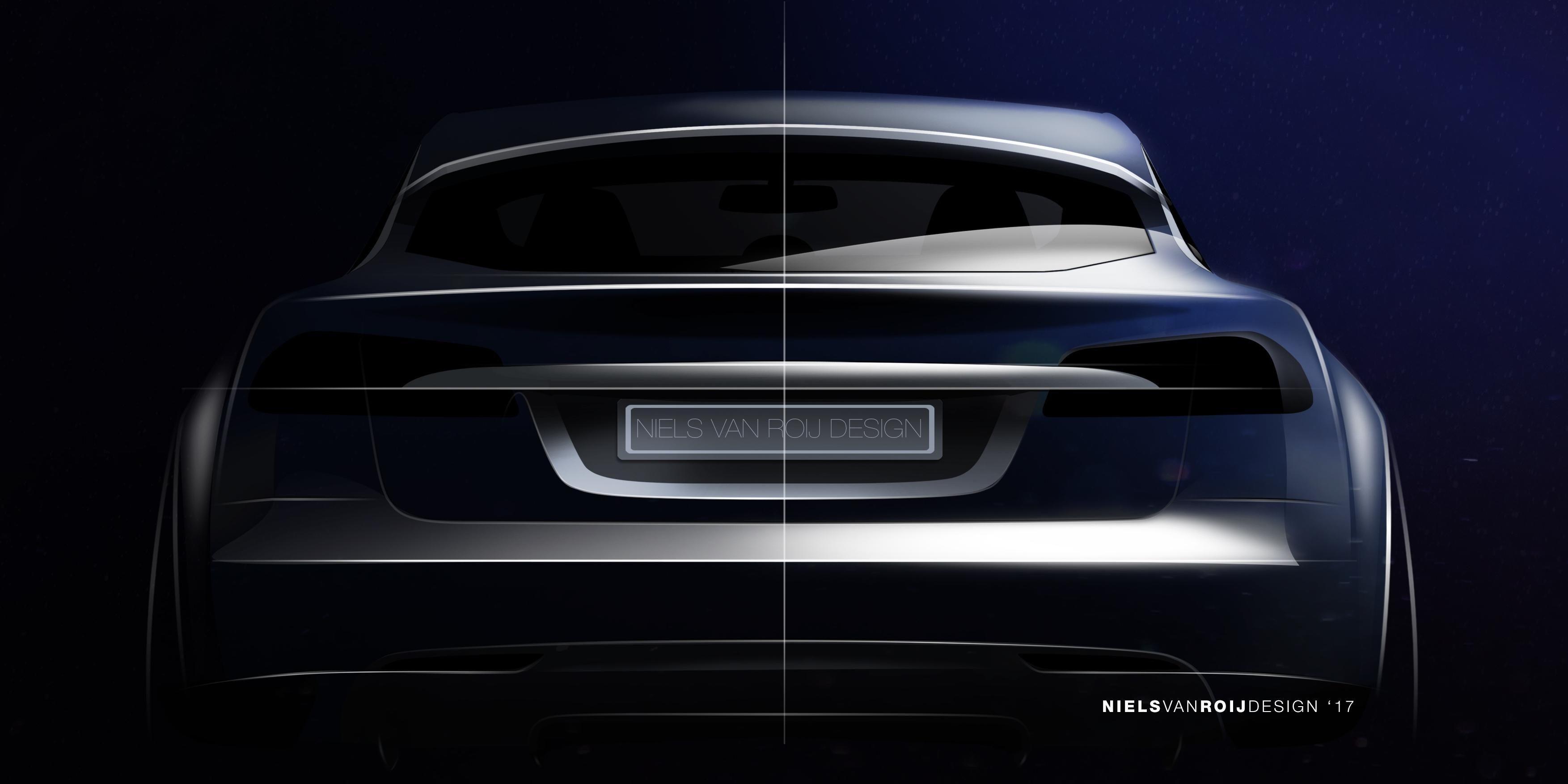 TESLA MODEL S-HOOTING BRAKE: Slik ser bildesigneren Niels van Roij for seg at en stasjonvogn bygget på Tesla Model S kan se ut.
