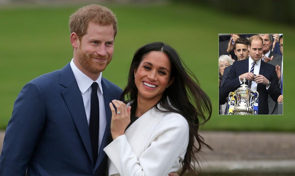 BRYLLUPSDATO: Prins Harry og Meghan Markle skal gifte seg på samme dag som finalen i FA-cupen. På Twitter spøker mange med at storebror William, som er FA-president, vil velge fotball over bryllup den 19. mai.