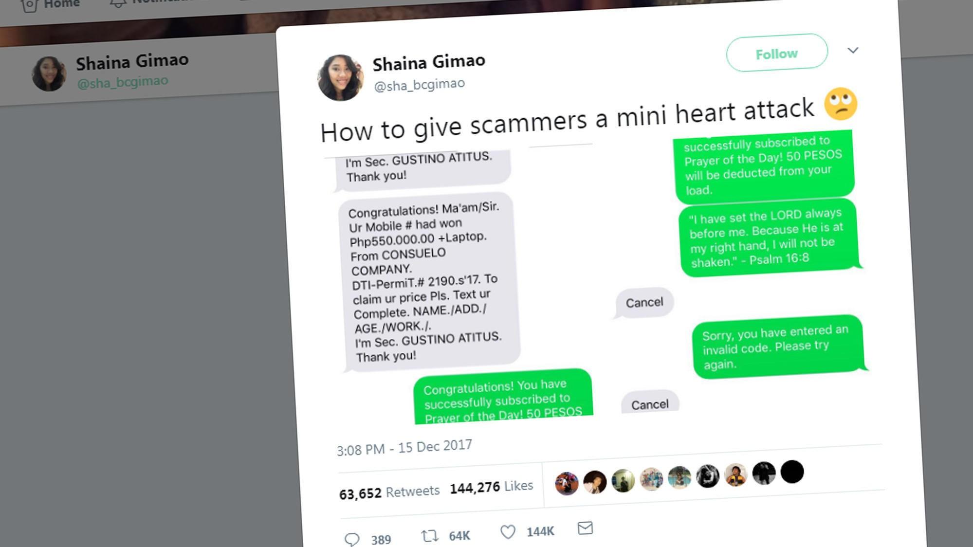 Da Shaina viste verden hvordan hun lurte SMS-svindlere, tok det helt av på Twitter.