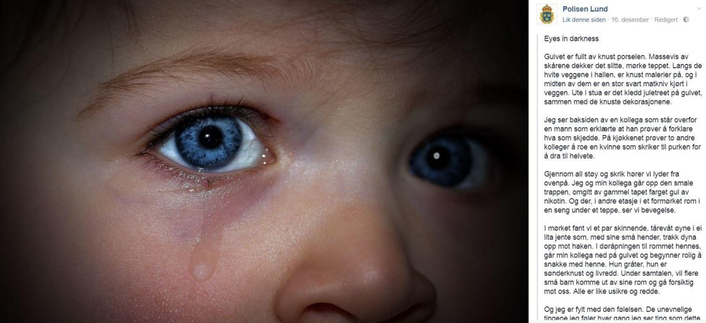 GRUER SEG TIL JUL: En politibetjent i Sverige beskriver en hendelse hvor de fant livredde og gråtende barn i et voldelig hjem i jula.
