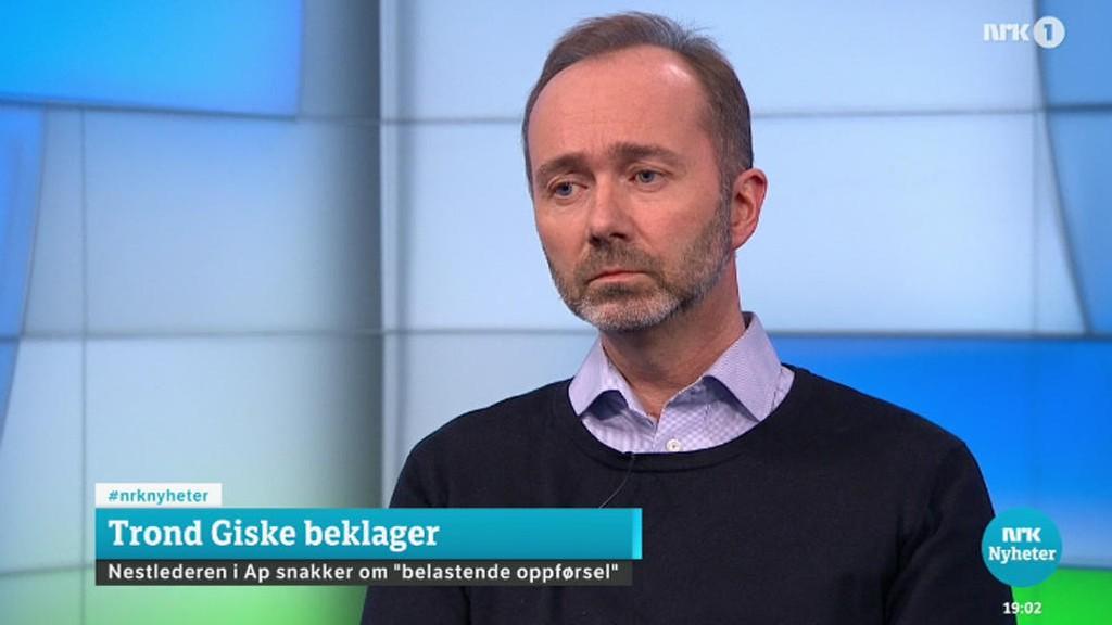 Trond Giske stilte til direkteintervju i NRK Dagsrevyen torsdag.