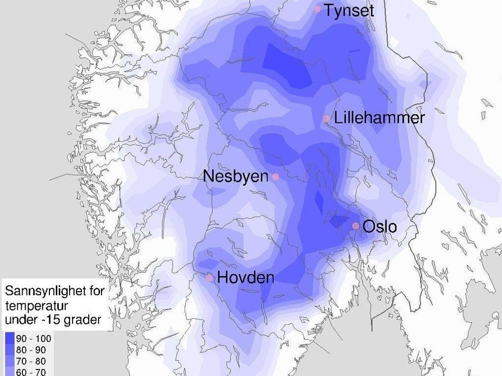 BRRR: Her blir det minus 15 grader og kanskje enda kaldere søndag morgen. Kulda vil trolig bite seg fast på Østlandet også i neste uke.