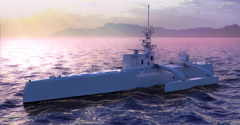 SEA HUNTER: Det 40 meter lange krigsskipet Sea Hunter skal spore opp og forfølge fiendtlige ubåter og kan være til sjøs i opp til tre måneder i strekk. Det finnes ingen mennesker om bord.