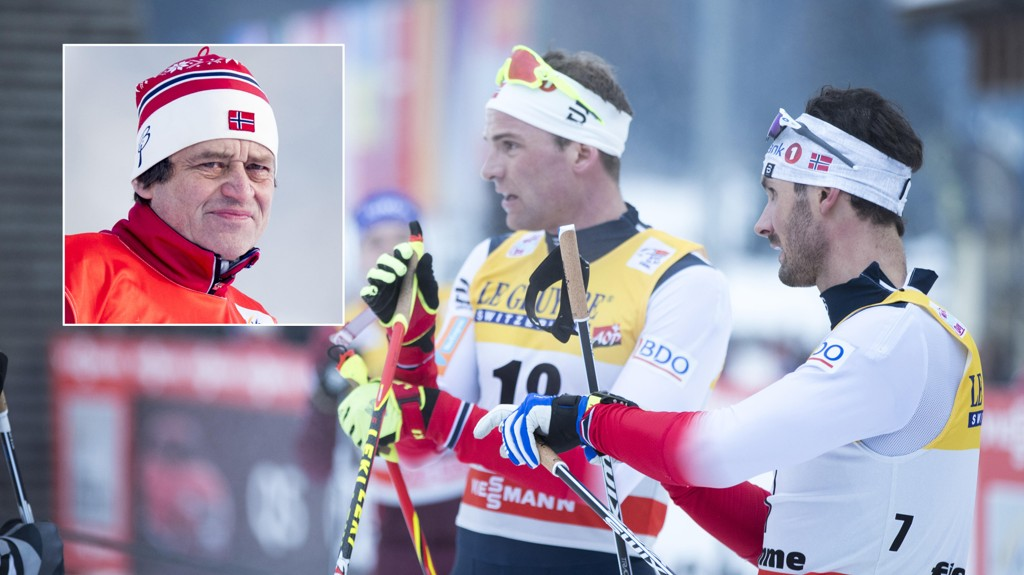 USIKKER: Langrennsekspert Torgeir Bjørn mener flere av de norske landslagsløperne begynner å få dårlig tid hvis de skal finne OL-formen. Til høyre er Niklas Dyrhaug og Hans Christer Holund etter lørdagens 15 kilometer fellesstart i Val di Fiemme. Den endte uten noen nordmenn på pallen.