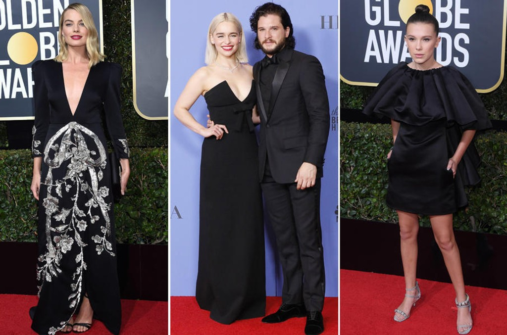 Margot Robbie, Emilia Clarke, Kit Harington og Millie Brown under årets Golden Globe-utdeling.