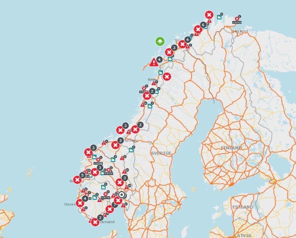 skredfare kart SKREDFARE , NORDLAND   Nord Norge: Flere veier stengt på grunn av  skredfare kart