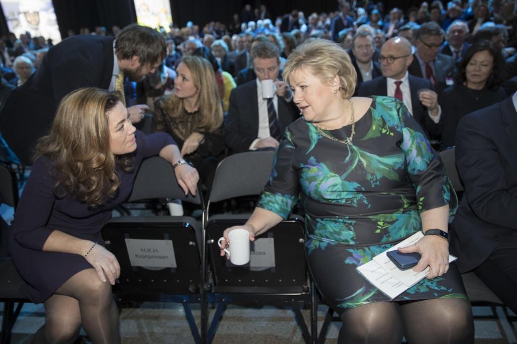 NHO-sjef Kristin Skogen Lund og statsminister Erna Solberg (H) er tilstede under NHOs årskonferanse 2018. Foto: Vidar Ruud / NTB scanpix