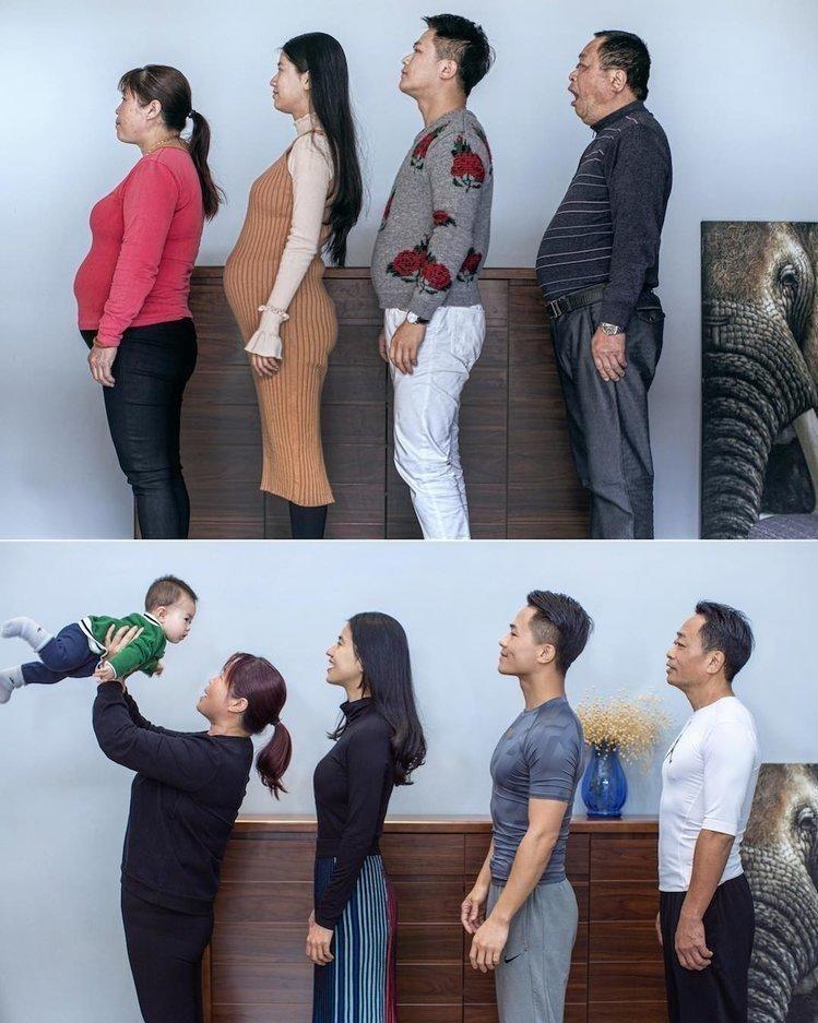 FORANDRING: Den 32 år gamle kinesiske fotografen Ding Guoliang (nummer to til høyre) ville hjelpe faren i bedre form. Det endte i en livsstilsendring for hele familien. De to bildene skal være tatt med seks måneders mellomrom.