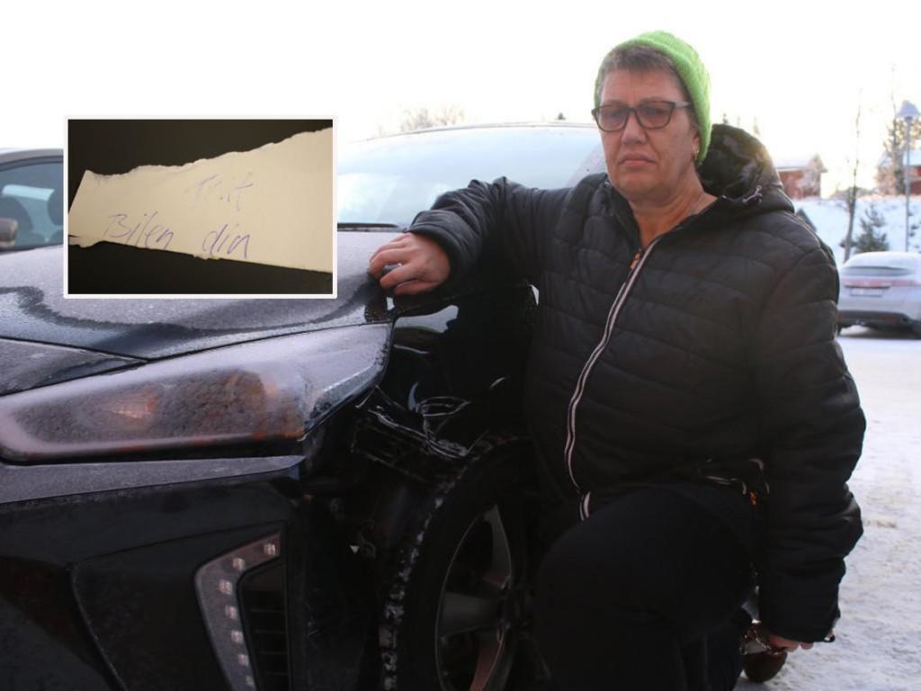 TRAF BILEN DIN: Det er det som står på lappen Lise Lindgren fant på bilen sin etter at den ble påkjørt tirsdag formiddag.