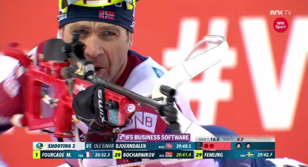 BOM: Her bommer Ole Einar Bjørndalen for andre gang på den tredje skytingen.