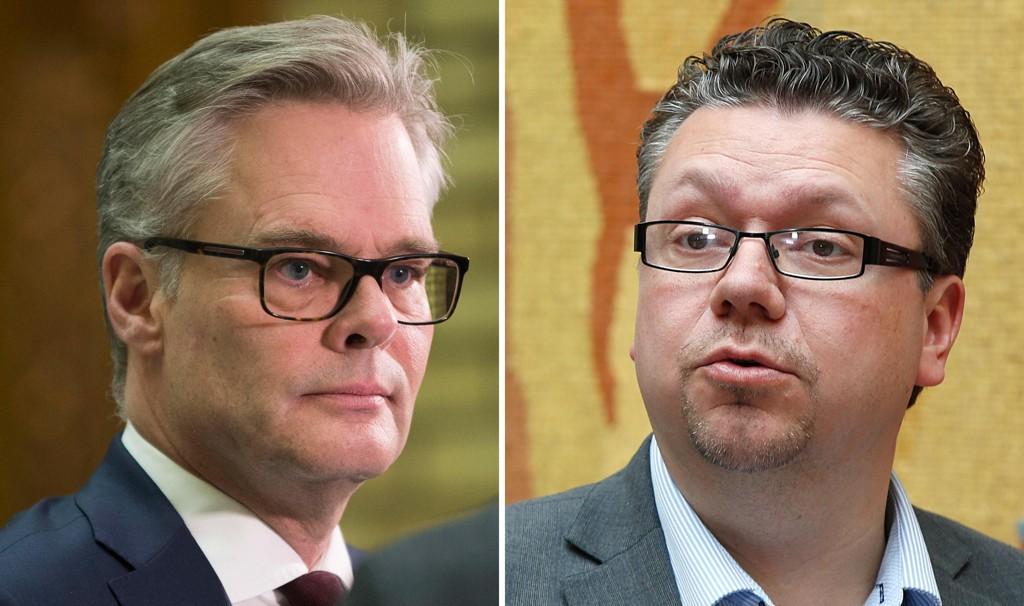 BEHANDLER SAKEN: Frps parlamentariske leder, Hans Andreas Limi (til venstre) sier at partiet nå vil behandle anklagene mot Frps Ulf Leirstein.