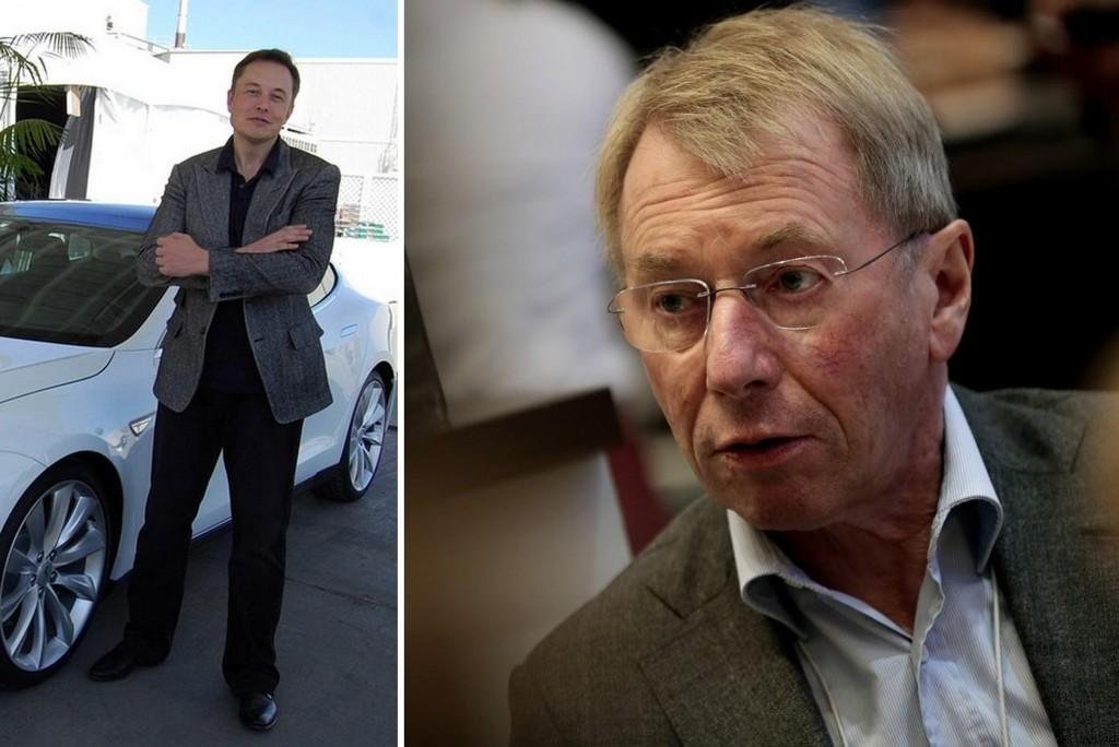 Den norske milliardæren og investor Jens Ulltveit-Moe (til høyre) går til sak mot Elon Musks Tesla for brutte løfter når det gjelder ytelse på bilen han har kjøpt.