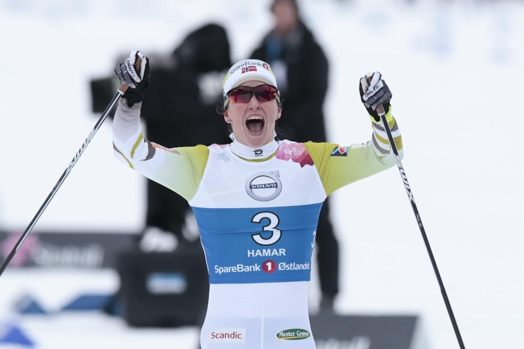 NORGESMESTER: Marit Bjørgen jubler fr NM-gull på klassisk sprint på Gåsbu.