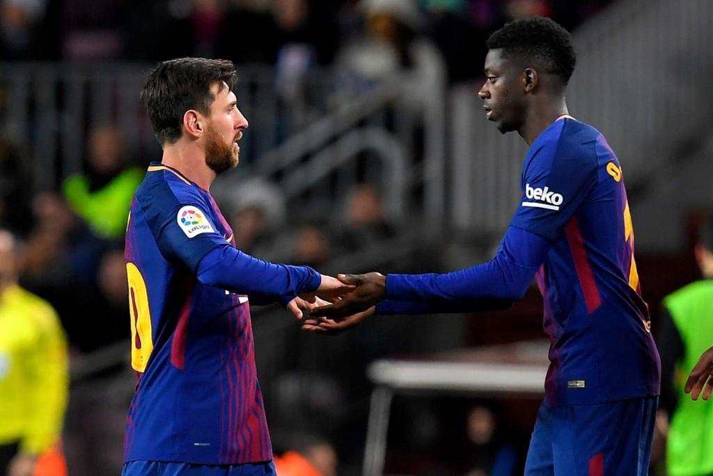 HERJET: Lionel Messi storspilte før han ble byttet ut med stjerneskuddet Ousmane Dembele, som er tilbake fra skade.