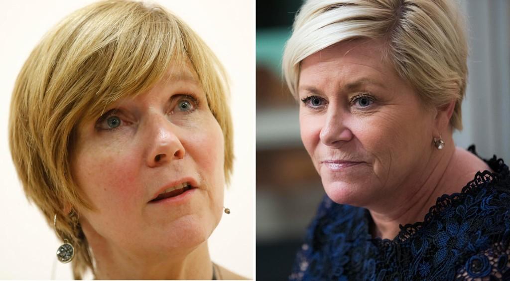 Finansminister Siv Jensen og Christine Meyer, tidligere direktør for Statistisk sentralbyrå (SSB).