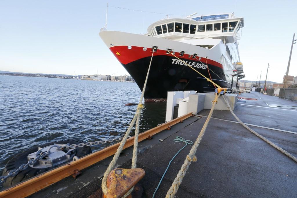 MS Trollfjord ved kai i Oslo.