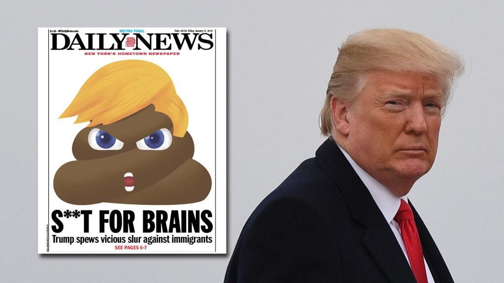 NEW YORK DAILY NEWS angriper president Donald Trumps mentale kapasitet etter hans rasistiske uttalelser i et møte om immigrasjon.