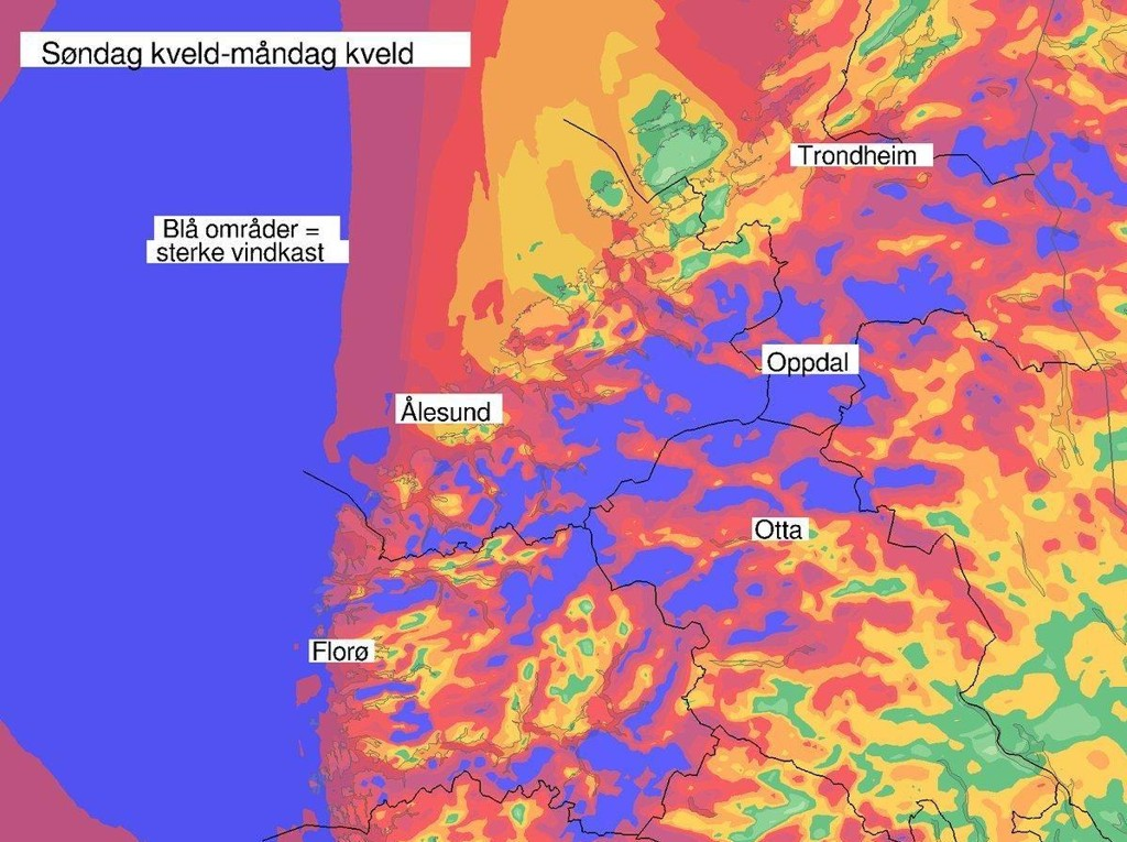 KRAFTIG UVÆR: Det er fre for vindkast på 35 til 45 m/s utsette steder i Sogn og Fjordane, Møre og Romsdal og Trøndelag.