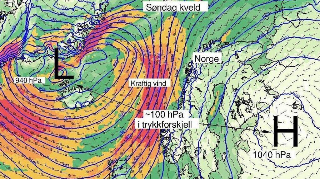 TRYKKFORSKJELL: Slik ser det ut over Norge søndag kveld.