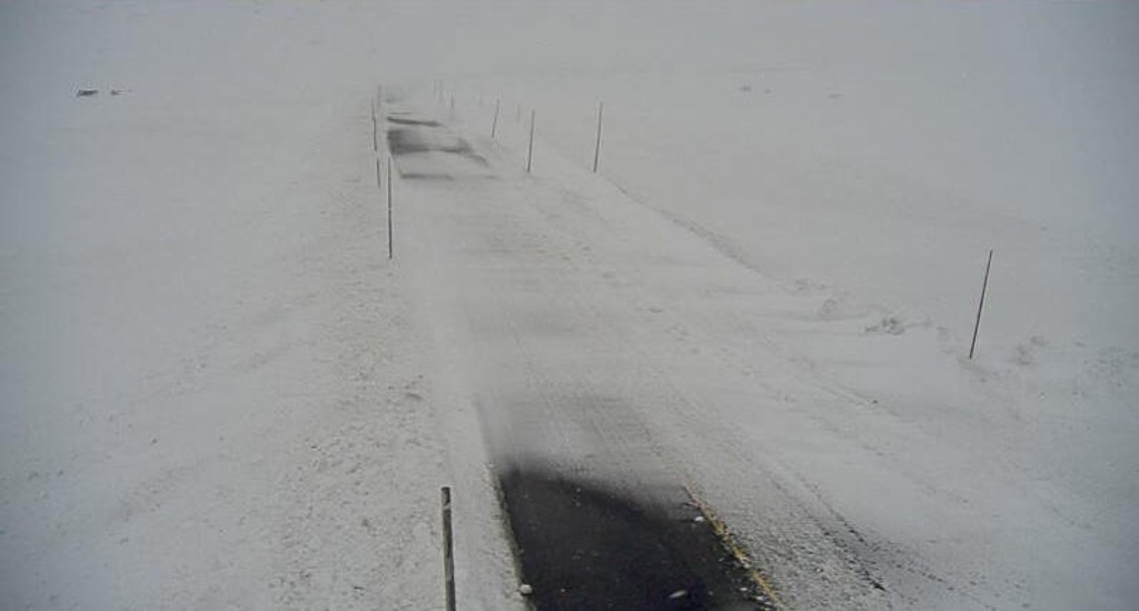 Illustrasjonsfoto fra riksvei 7 ved Skulevika på Hardangervidda tidligere i januar. Foto: Statens vegvesen webkamera / NTB scanpix