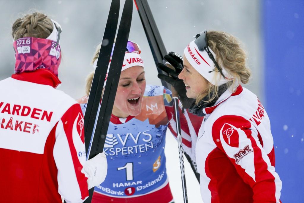 NM-GULL: Astrid Stav, Marthe Kristoffersen og Kathrine Harsem gikk Varden Meråker inn til stafettgull i NM.
