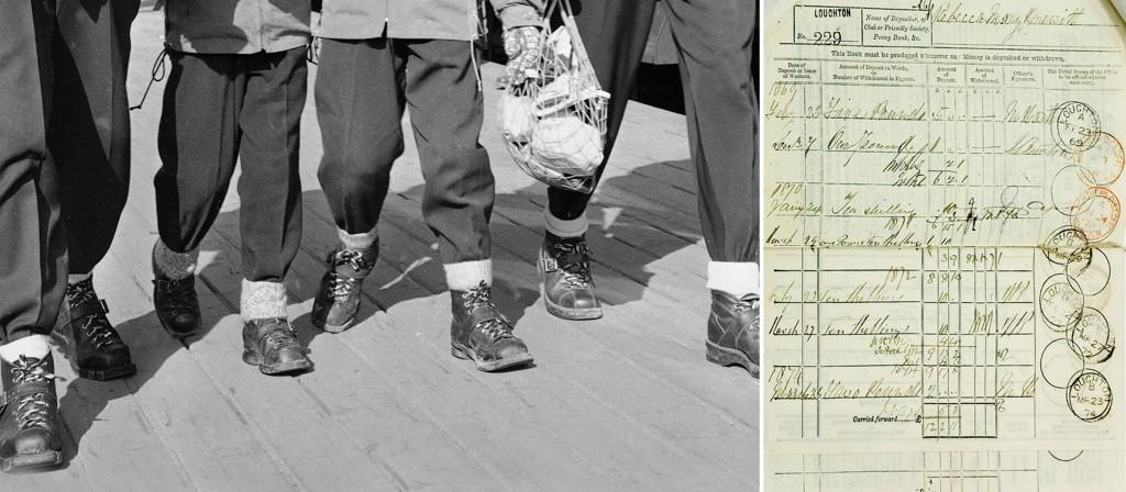 GAMLE ORD: Medieforsker Jens Barland fikk massiv respons da han ba om hjelp til å samle inn gamle ord. Avbildet til venstre ser du en familie iført beksømstøvler, og til høyre ser du en britisk bankbok fra 1869.