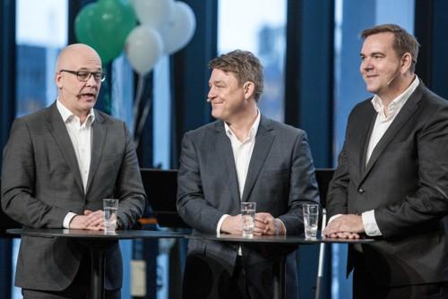 Kringkastingssjef Thor Gjermund Eriksen (NRK), P4-sjef Kenneth Andresen og Bauer Media-sjef Lasse Kokvik kontrollerer rundt 98 prosent av radiomarkedet i Norge.