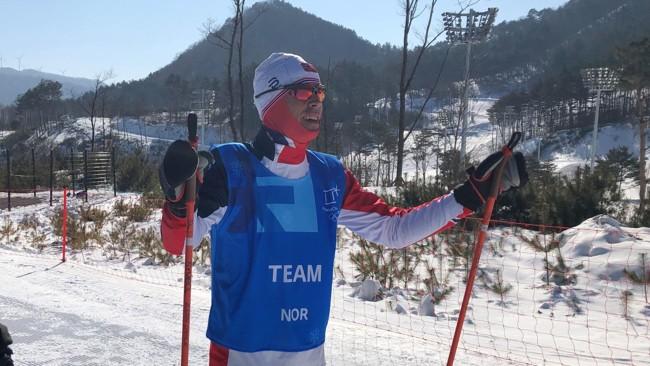 I SØR-KOREA: Nettavisen møter landslagssjef Vidar Løfshus i OL-løypene i Pyeongchang. FOTO: Martin Busk(Nettavisen)