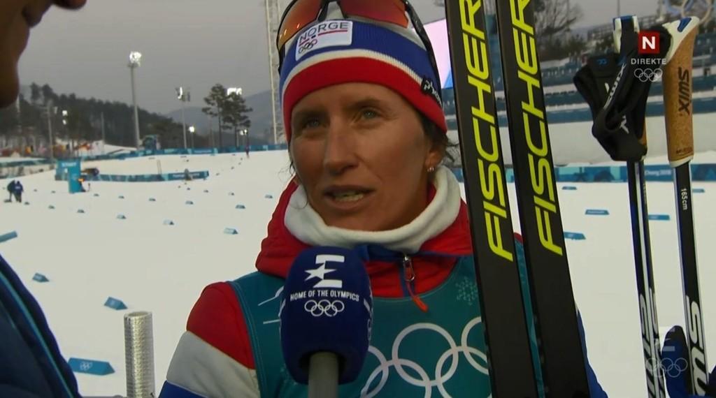FORNSAKKET SEG: Her forsnakker Marit Bjørgen seg.