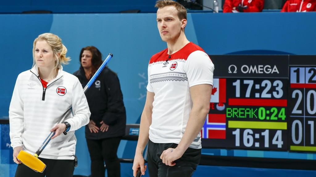 SEMIFINALETAP: Magnus Nedregotten og Kristin Skaslien måtte se seg slått av Canada i semfinalen natt til mandag.