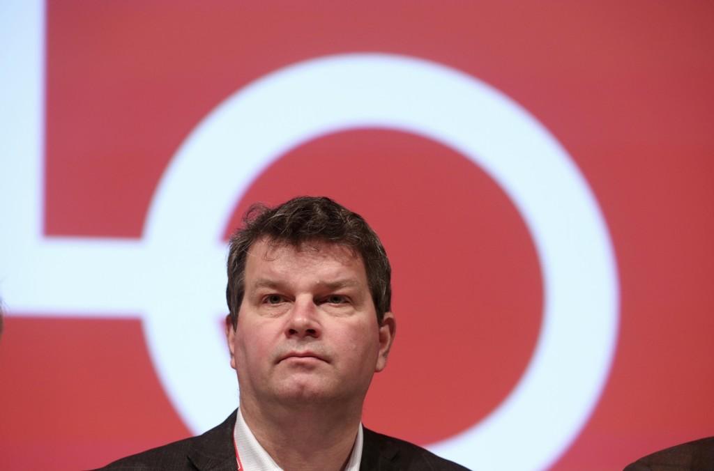 LO-leder Hans-Christian Gabrielsen på representantskapsmøte i Folkets Hus i Oslo februar 2017.
