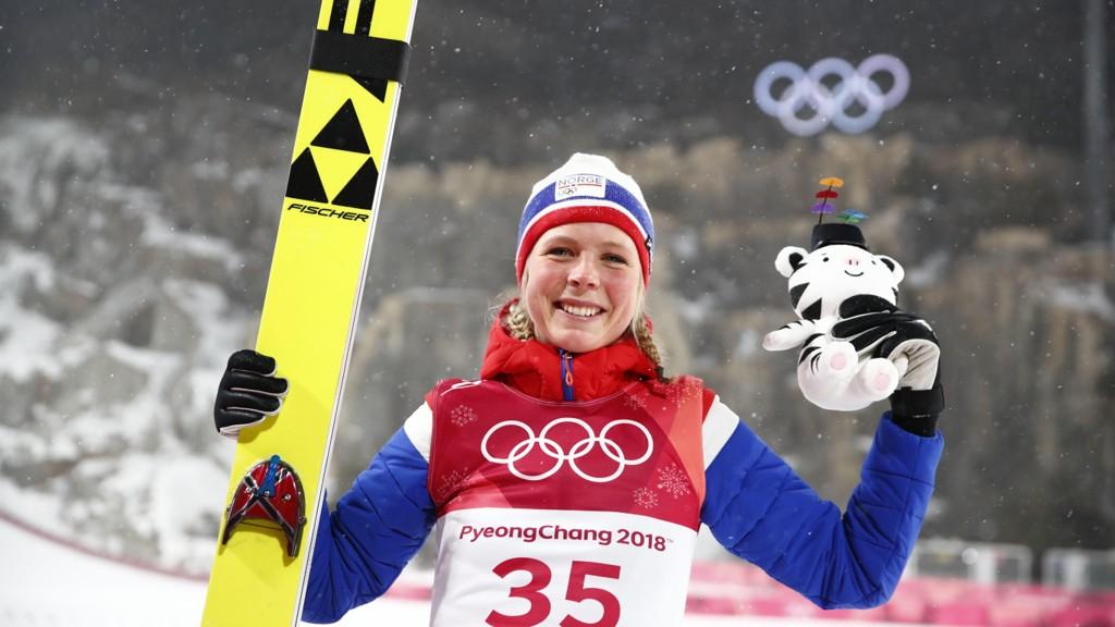 VINNERSKALLE: Maren Lundby stod imot presset og tok Norges andre OL-gull i Pyeongchang.