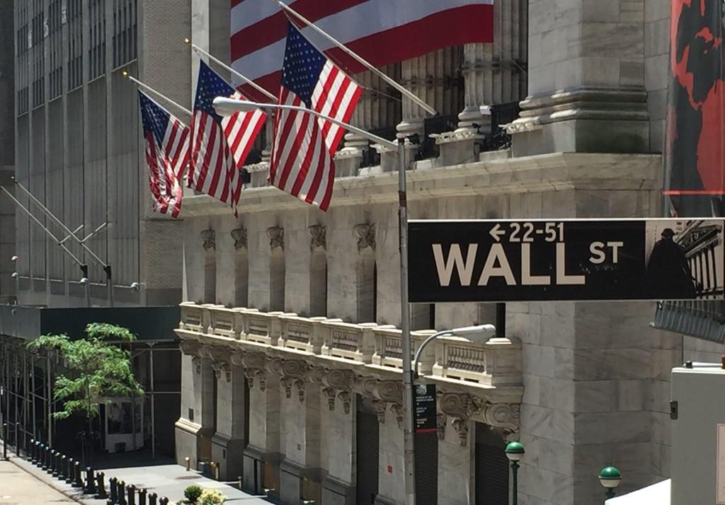 NEW YORK-BØRSEN ligger i Wall Street på Manhattan.