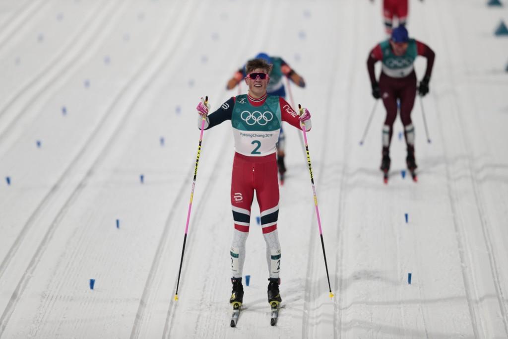 GULL: Johannes Høsflot Klæbo sikret sitt første OL-gull.