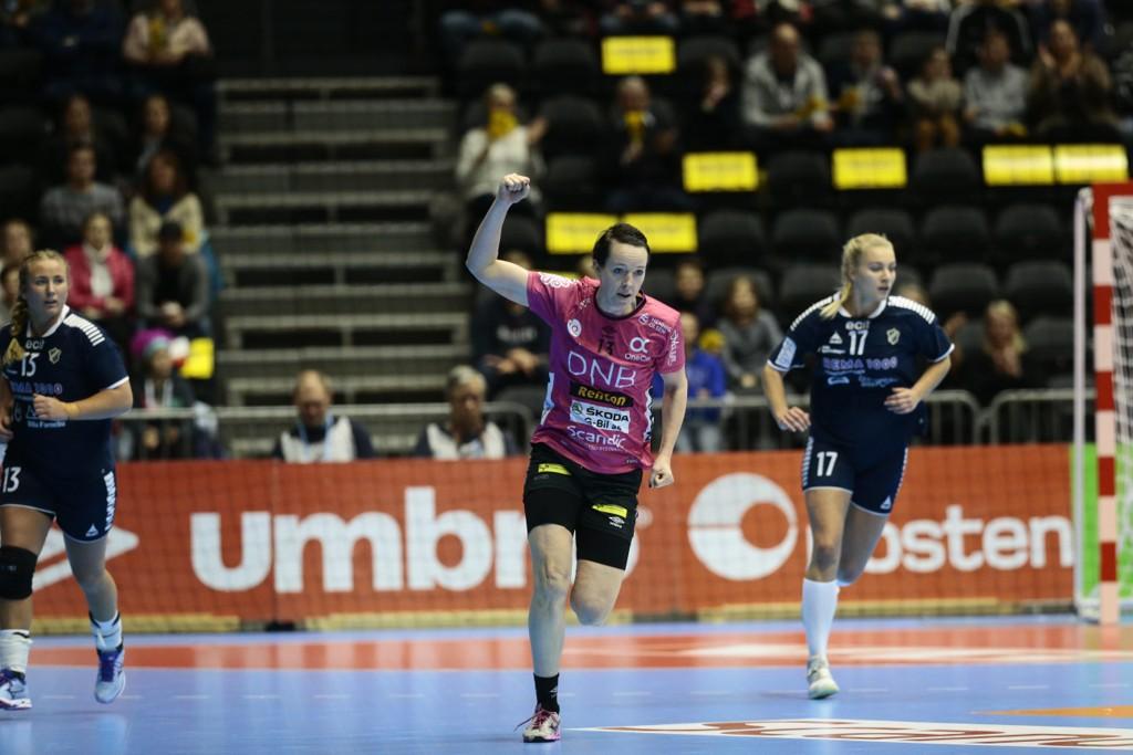 SCORET FEM: Kristine Lunde-Borgersen scoret fem mål da Vipers slo Molde 34-30 i eliteserien onsdag.