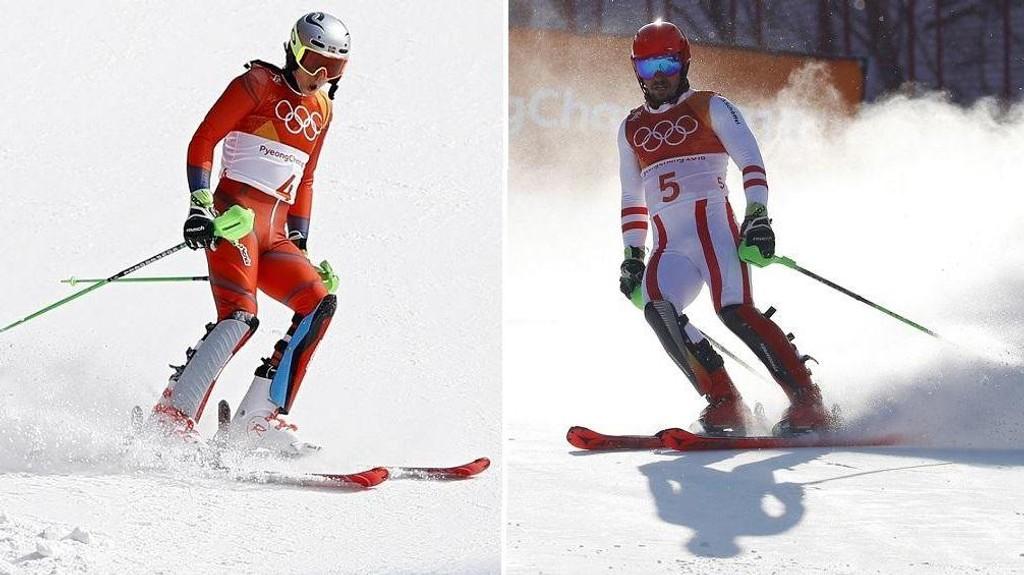 KJØRTE UT: Forhåndsfavorittene Henrik Kristoffersen og Marcel Hirscher kjørte begge ut i torsdagens slalåmkonkurranse