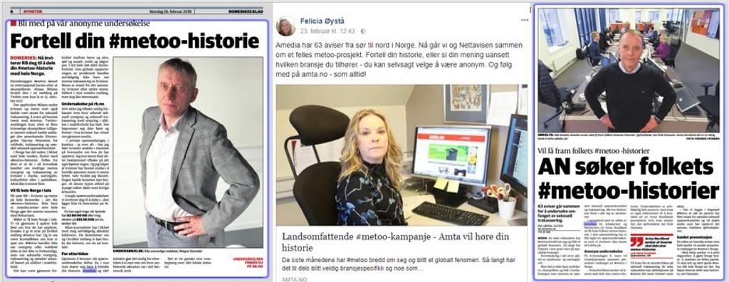 Undersøkelsen går ut over hele landet, her fra Romerikes Blad, Akershus Amtstidende og Avisa Nordland.