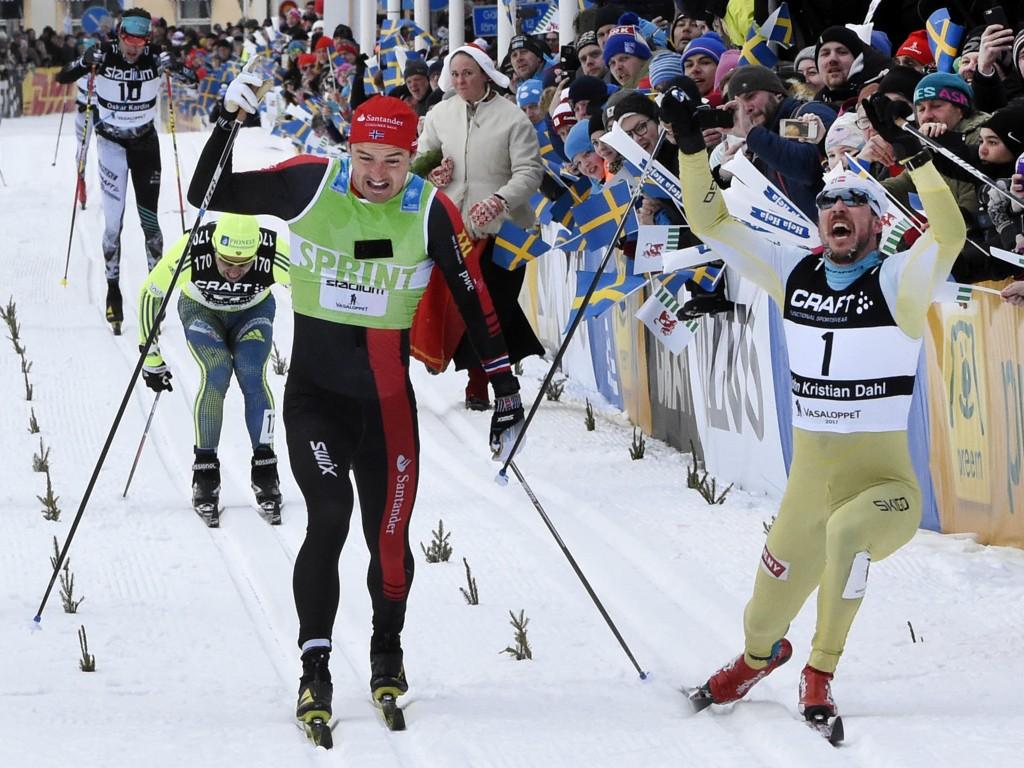 NORSK DOMINANS: John Kristian Dahl (t.h.) vant Vasaloppet for tredje gang. mens Andreas Nygaard (t.v) tok andreplassen i fjorårets utgave av Vasaloppet.