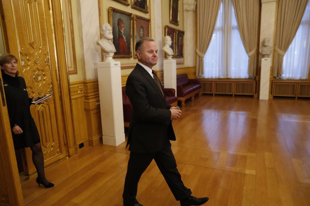 Stortingspresident Olemic Thommessen og Stortingets avgåtte direktør Ida Børresen.