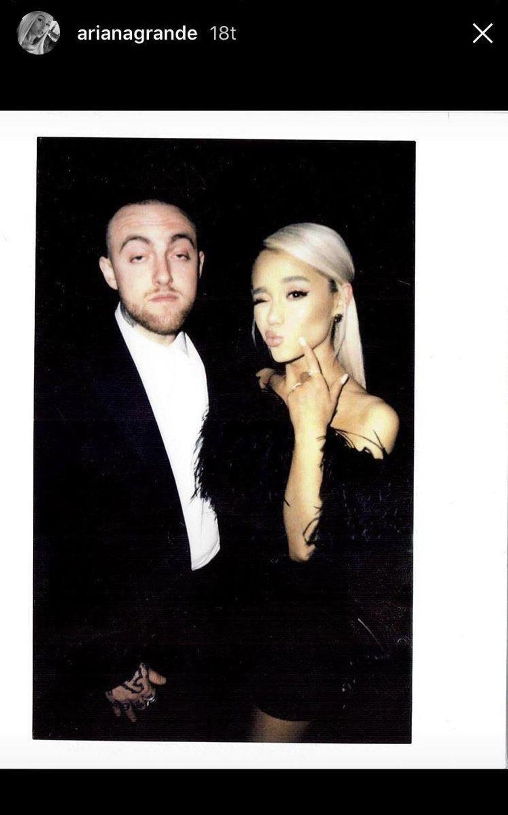 Ariana Grande og Mac Miller under årets Oscar-fest i 2018