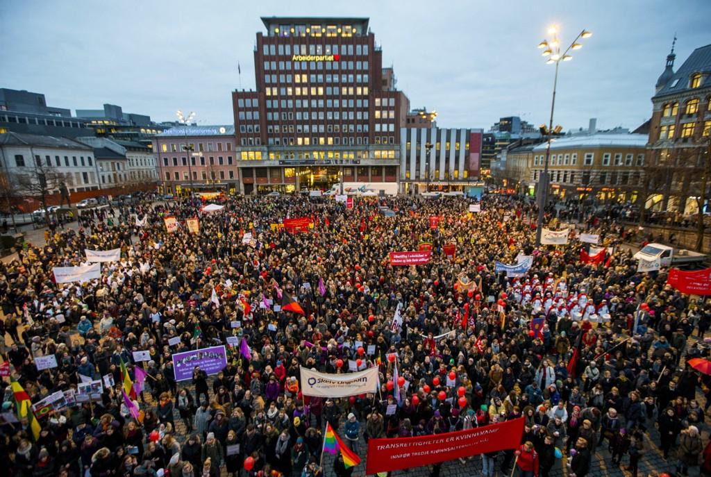 Kvinnedagen markeres på Youngstorget i Oslo i 2016.