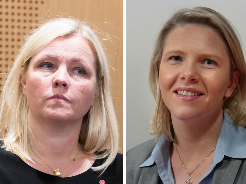 Partisekretær Kjersti Stenseng i Arbeiderpartiet (til venstre) og justisminister Sylvi Listhaug (Frp).