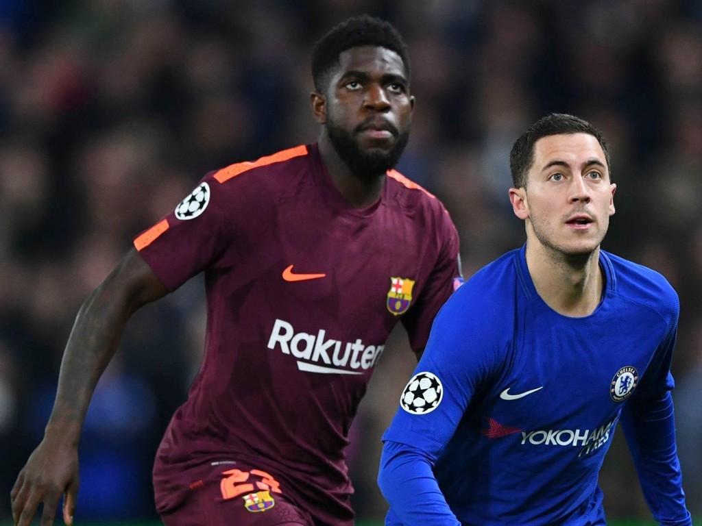 KLUBBSKIFTE I SIKTE? Barcelona og Samuel Umtiti fikk med seg et godt resultat fra bortekampen mot Eden Hazards Chelsea i Champions League. Umtitis prestasjoner er blitt lagt merke til.
