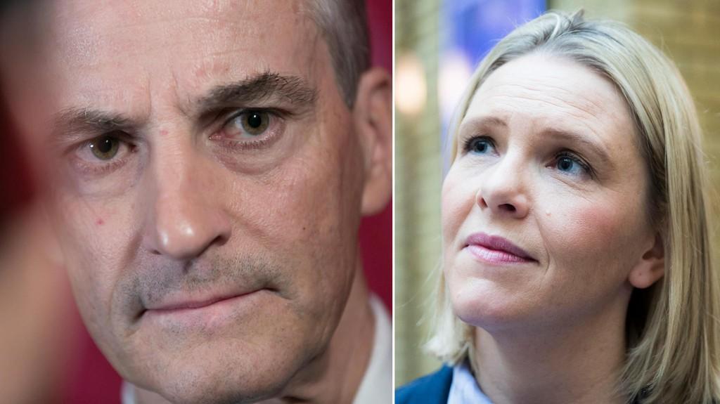 Ap-leder Jonas Gahr Støre vil ha Erna Solberg på banen etter at justisminister Sylvi Listhaug (t.v.) la ut et bilde på Facebook der hun skriver at «Ap mener terroristenes rettigheter er viktigere enn nasjonens sikkerhet. Lik og del».