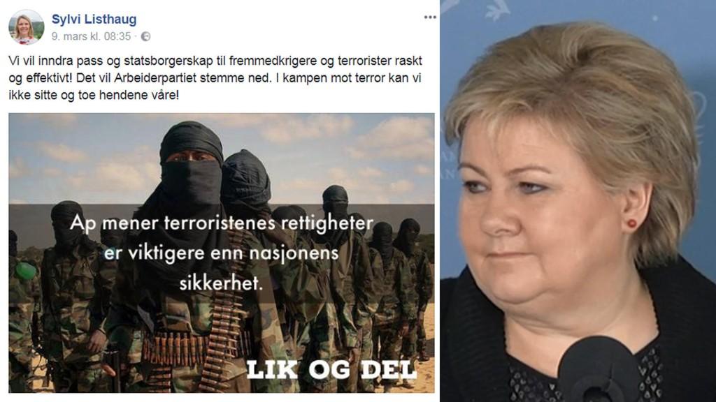 FÅR KRITIKK: Statsminister Erna Solbergs reaksjon etter at justis- og innvandringsminister Sylvi Lishaug postet dette innfelte innlegget på Facebook, har fått blant annet AUF til å rase.