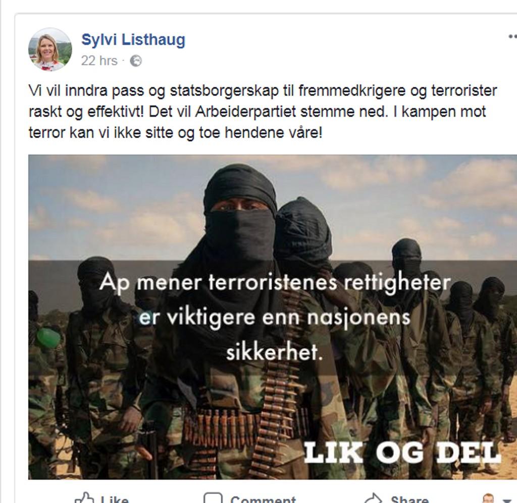 """Dette er Sylvi Listhaugs mye omtalte Facebook-post der hun skriver at """"Ap mener terroristenes rettigheter er viktigere enn nasjonens sikkerhet"""". Bruken av bildet fra Associated Press får nå et etterspill."""