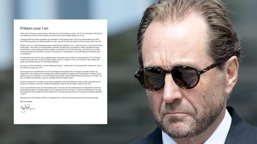 PRIKKEN OVER I-EN: Kjell Inge Røkke la tirsdag ut dette brevet på Akers nettsider.
